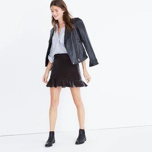 Madewell Velvet Ruffle-Edge Grey Mini Skirt 00
